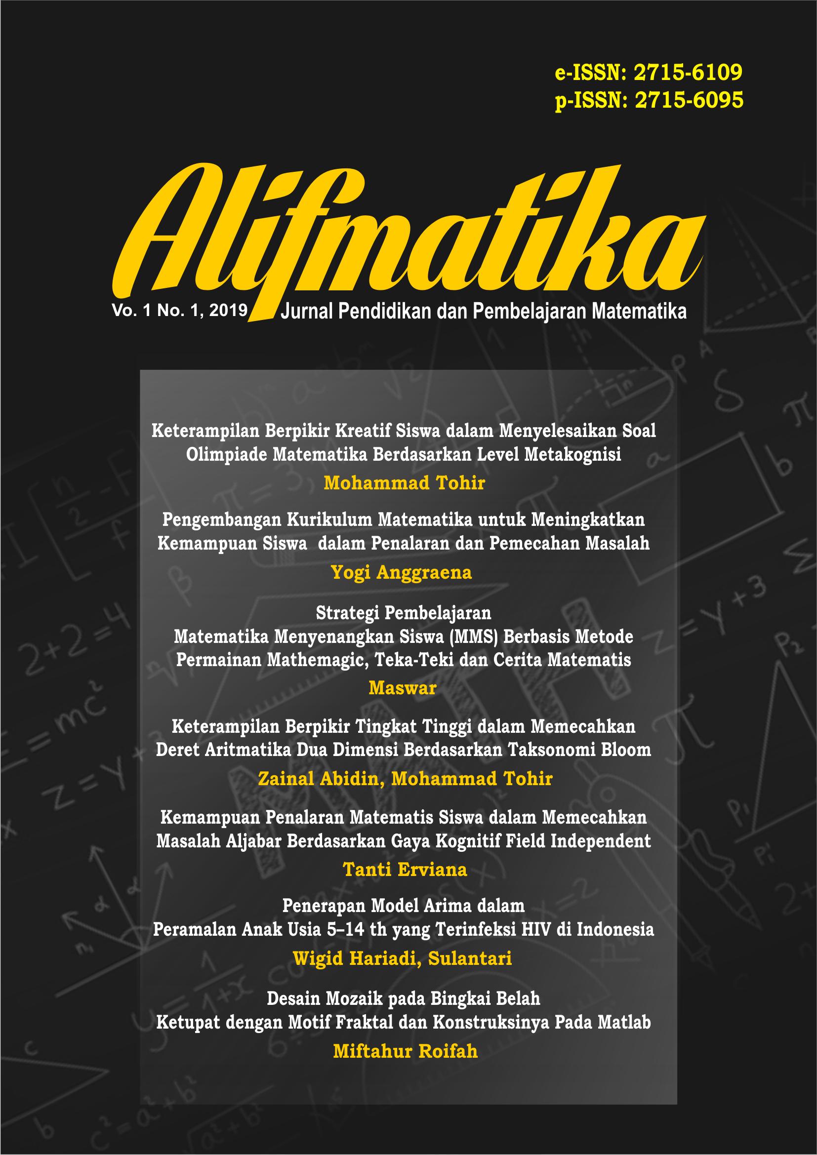Alifmatika: Jurnal Pendidikan dan Pembelajaran Matematika